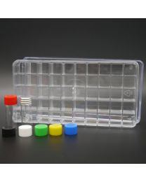 50 white glass vials 2 ml in a polystyrene box with colored plastic screw caps; white