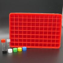 96 white glass vials 2 ml in a polypropylen box with aluminium screw cap