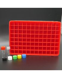 96 white glass vials 2 ml in a polypropylen box with colored plastic screw caps; red