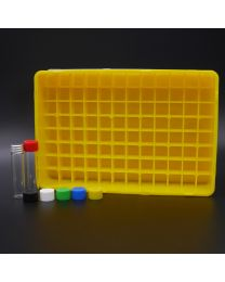 96 whiteglassvials 3 ml in a polypropylen box with colored plastic screwcaps. white