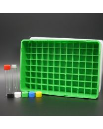 96 whiteglassvials 4 ml in a polypropylen box with colored plastic screwcaps. white