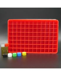 96 brownglassvials 2 ml in a polypropylen box with colored plastic screwcaps. red