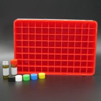 96 brownglassvials 2 ml in a polypropylen box with perforated colored plastic screwcaps. yellow