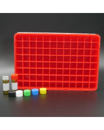 96 brownglassvials 2 ml in a polypropylen box with perforated colored plastic screwcaps. white