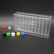 50 white glass vials 1 ml in a polystyrene box with aluminium screw cap