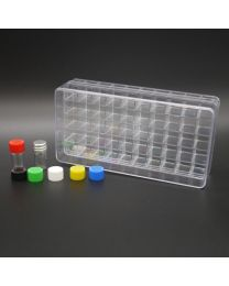 50 white glass vials 1 ml in a polystyrene box with colored plastic screw caps, black