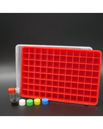 96 white glass vials 1 ml in a polypropylen box with colored plastic screw caps, red