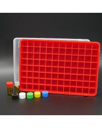 96 brown glass vials 1 ml in a polypropylen box with colored plastic screw caps, red