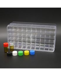 50 brown glass vials 1 ml in a polystyrene box with colored plastic screw caps, white