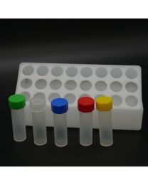 24 polypropylenvials in a polypropylen box with polypropylen screw caps. transparent